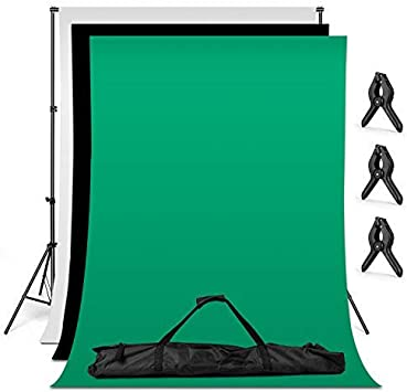 oldzon Photo Video Screen Green Muslin Backdrop Studio Background Support Stand Kit with Ebook