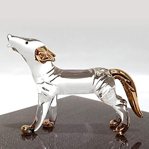 Sansukjai Fox Miniature Figurines Animals Hand Blown Glass Art 22k Gold Trim Collectible Gift Decorate, Clear Gold (Glass Fox Figurine)