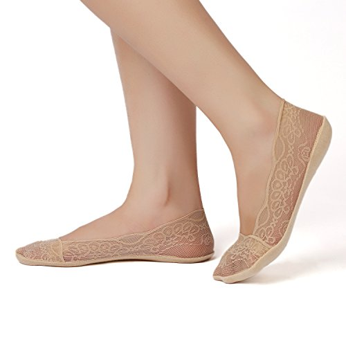 Women No Show Lace Cotton Liner Hidden Non-Skid Boat Socks(4 Pairs) (Shoe-Size 9-12, 2Black+2Nude)