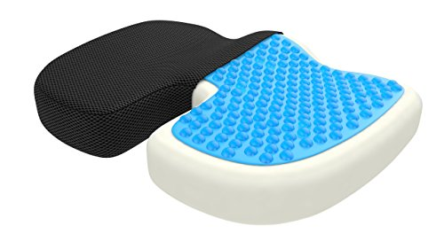 bonmedico Standard Orthopedic Seat Cushion, Gel and Memory Foam Seat Pillow to Relieve Back, Sciatica and Coccyx/Tailbone, Great As Office Chair Cushion, Car Seat Cushion Or for Wheelchair, Black