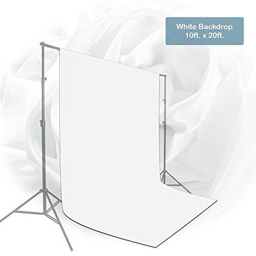 Julius Studio 10 x 20 ft. White Chromakey Photo Video Studio Fabric Backdrop, Background Screen, Pure White Muslin, Photography Studio, JSAG210