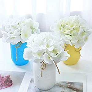 Veryhome Blooming Silk Hydrangea Flower Heads for DIY Bouquets Wedding Centerpieces Home Decor 12pcs white 21