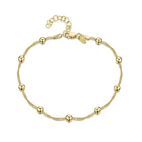 18K Gold Plated on 925 Fine Sterling Silver 1.4 mm Adjustable Anklet - Singapore Chain with 4 mm Ball Beads Ankle Bracelet - 9