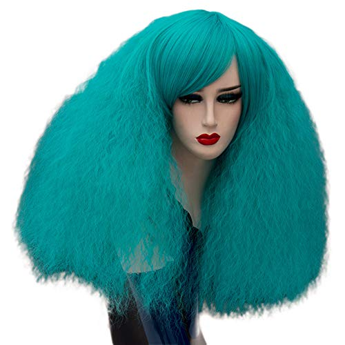 ELIM Short Fluffy Cosplay Wigs Navy Curly Wigs