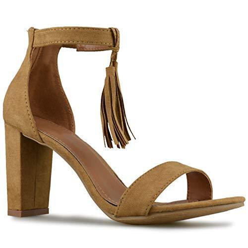 - Premier Standard - Women's Strappy High Chunky Heel - Formal, Wedding, Party Simple Classic Pump, TPS Konner-50. Dk Tan Size 6.5