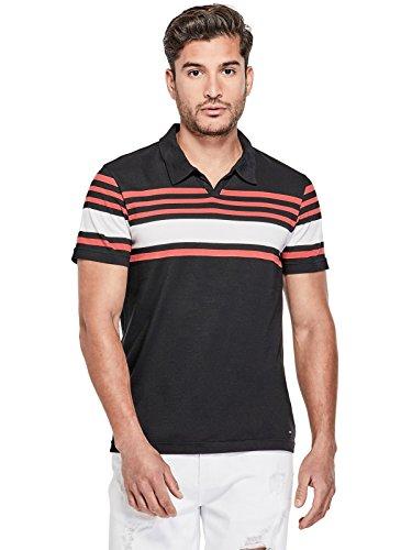 Split Striped Polo Shirt - GUESS Factory Men's Abner Striped Split-Neck Polo