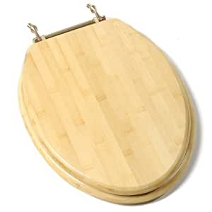 Comfort Seats C1B2E-14BR Deluxe Molded Wood Toilet Seat with Brass Hinges, Elongated, Bamboo by Comfort Seats