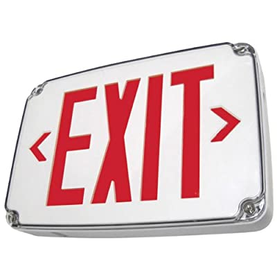 Single Face - LED Exit Sign - Thermoplastic - Red Letters - Weatherproof - 120/277 Volt and Battery Backup - Gray - Exitronix VEX-WP-1-WB-GR