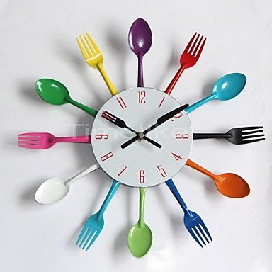 Amazon.com: BEY Cool Stylish Modern Design Wall Clock Colorful Kitchen Cutlery Utensil Vintage Design Wall Clock Spoon Fork Home Decor: Home & Kitchen