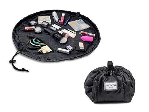 Lay-n-Go Drawstring Makeup Bag – Women's Travel Cosmetic Case and Jewelry, Electronics, Toiletry Organizer – 20 inch Black