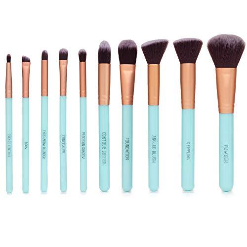 Nicole Miller Makeup Brush Collection, 10 Piece Makeup Brush Gift Set, Foundation Brushes, Face and Eye Makeup Brush Set…