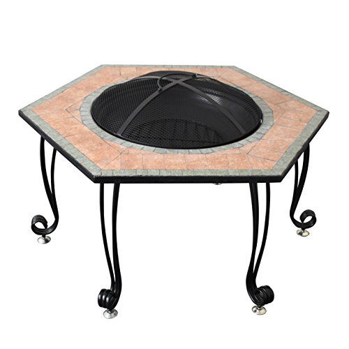 """Astella 30"""" Hex. Wood Burning Fire Pit with Decorative Ceramic Tile Surround"""
