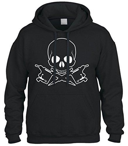 Cybertela Tattoo Skull and Crossbones Sweatshirt Hoodie Hoody (Black, 3X-Large) ()