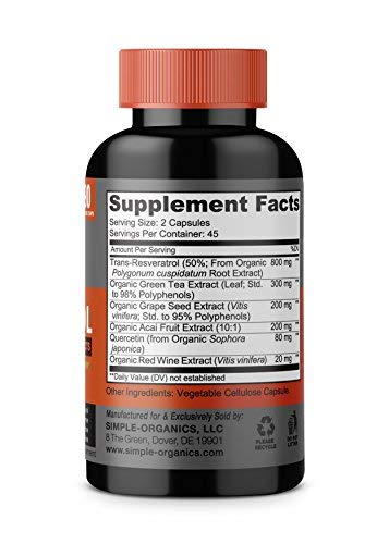 41WhfrstulL - Resveratrol 1600mg per Serving- 100% Organic, Pure Extra Strength Complex with Organic Trans-Resveratrol - Anti-Aging, Radiant Skin, Blood Sugar and Immunity Support- 45 Day Supply