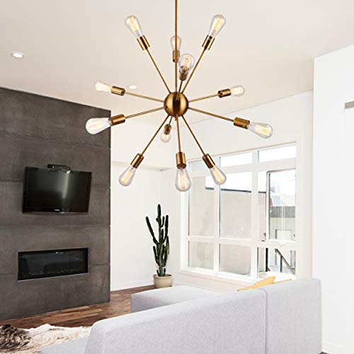 Sputnik Chandeliers 12 Lights Vintage Brass Pendant Lighting, UL ()