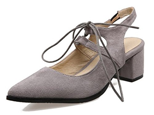 Easemax Womens Sexy Cut Out Pointy Chunky Mid Heels Sandals Gray hDic7