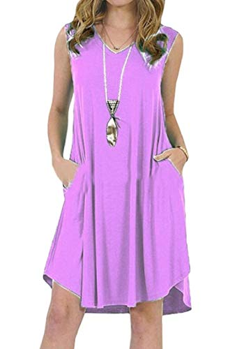 Jaycargogo Femmes Manches Couleur Unie Occasionnels Avec Des Poches Réservoir Coupe Ample Lumière Mini Robe Violette