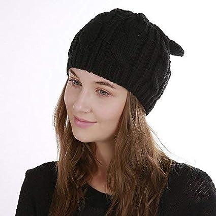 nouveau style de vie procédés de teinture minutieux prix QWhing Chapeau de Sport Bonnet Chaud Femme tricoté en ...