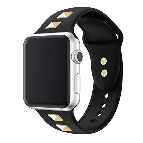 WHLIHUSU Sport Band Compatible with Apple Watch 42mm 44mm M/L, Bling Dressy Designer Soft Silicone Replacement Bands Compatible with Apple Watch iWatch Series 4 3 2 1, Black ()