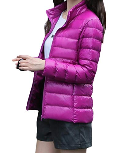 Collar Stand Lightweight Size Leisure Zipper Energy Mini Purple Coat Womens Down Plus XHwZS