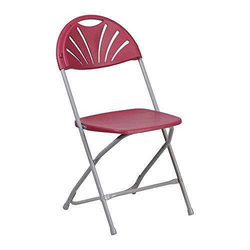 Offex OFX-449127-FF Lightweight Design Plastic Fan Back Folding Chair - Burgundy ()