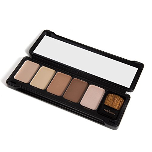 Profusion Cosmetics – Contour – Professional 5 Color Palette Highlight Bronzer Makeup Kit With Application Brush – Vanilla Biscuit Honey Walnut Highlighter