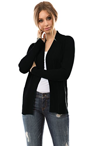 CIELO Open Front Solid Color Long Sleeve Sweater Cardigan