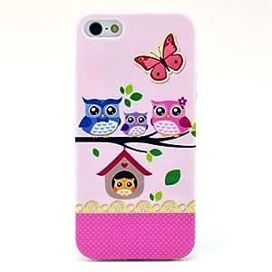 TY-El patrón de la caja suave Búhos Familia para el iPhone 5/5S