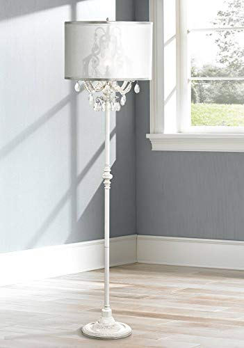 Ciara Shabby Chic Floor Lamp Antique White Chandelier Style Crystal Sheer Organza Drum Shade For