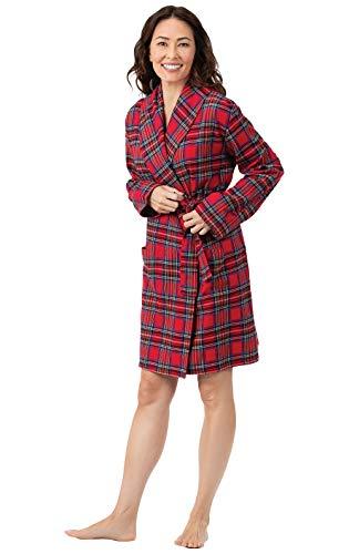 PajamaGram Short Flannel Robe Womens - Women's Flannel Robes, Red, M/L, - Flannel Robe Red