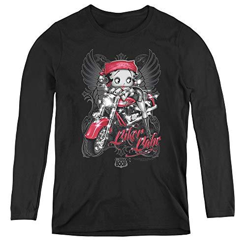 Betty Boop Biker Babe Adult Long Sleeve T-Shirt for Women, Small Black