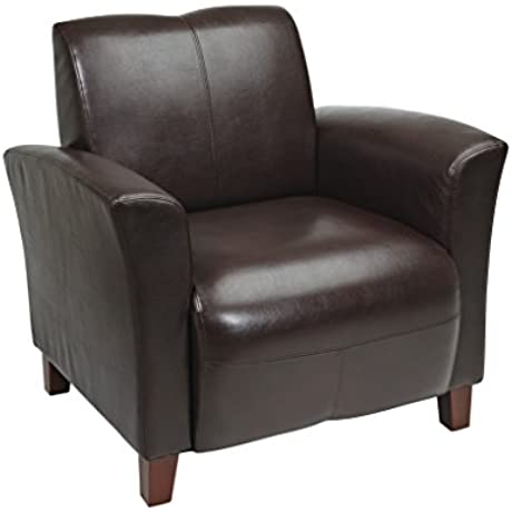 OSP Furniture Breeze Mocha Eco Leather Club Chair With Cherry Finish Legs