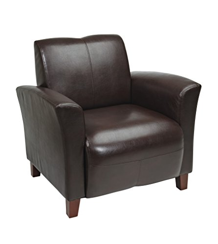 Office Star Breeze Mocha Eco Leather Club Chair with Cherry Finish Legs Eco Leather Club Chair