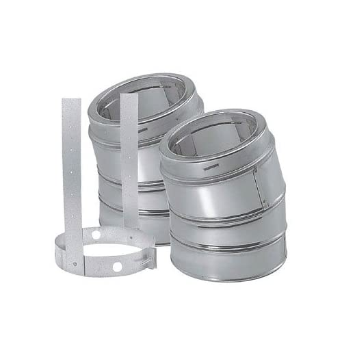 Image of DuraVent 6DP-E30 (9066KIT) DuraPlus Class-A Chimney Pipe 30-Degree Galvanized Steel Elbow Kit Includes 2 Elbows and 1 Elbow Strap, 6-Inch Diameter Home Improvements