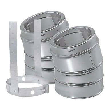 (DuraVent 6DP-E30 (9066KIT) DuraPlus Class-A Chimney Pipe 30-Degree Galvanized Steel Elbow Kit Includes 2 Elbows and 1 Elbow Strap, 6-Inch Diameter)