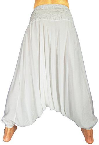 Rosina de la mujer harén Smocked cintura 2tipos Mono pantalones blanco