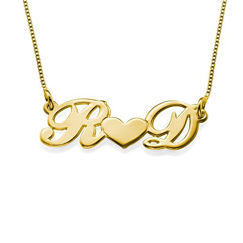 14k Solid Gold Personalized Couples Heart Necklace- Custom Made with 2 Initials! by My Name Necklace