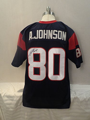 Andre Johnson Signed Houston Texans Blue Autographed Jersey Novelty Custom Jersey ()