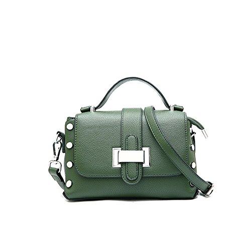 Boucle de Boucle rétro Simple cloutée carrée Sac à bandoulière PU Messenger Bag, Vert Loisirs