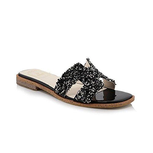 Heart&M Rhinestone de la manera del pío de las mujeres del dedo del pie plano suela plana de los deslizadores de tacón Sandalias Black