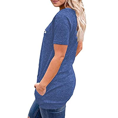 Mansy Women's Summer Short Sleeve Tops Causal Loose Letter Print T Shirt Tunics with Pocket Round Neck at Women's Clothing store