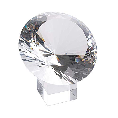LONGWIN Large 120mm (4.7 in.) Crystal Diamond Polyhedron Paperweight Wedding Venue Decoration Christmas Centerpieces(Clear)