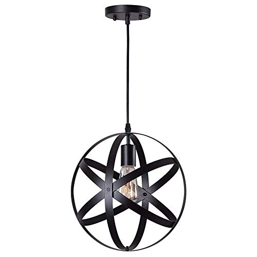 - Rustic Industrial Metal Spherical Pendant Lighting Globe Edison Vintage Decorative Changeable Hanging Lighting Fixture for Kitchen Island Dining Table Bedroom Hallway