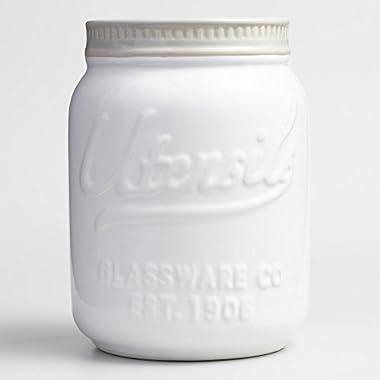 Mason Jar Ceramic Utensil Holder - White