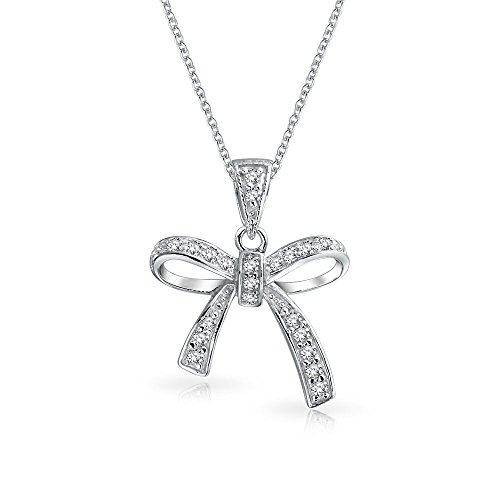 Pave CZ Ribbon Bow Pendant Rhodium Plated Necklace 16 Inches - Bow Pendant Necklace