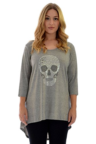(Nouvelle Collection Womens Plus Size Top Ladies Skull Rhinestone Stud Dip Hem Tunic T-Shirt High Low Hem Round Neck Silver Grey US Size)