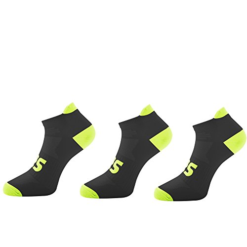 Running Socks - Anti Blister - Arch Support - Neon Colors - 3 Pairs (L, 3-Pack Black/Yellow)