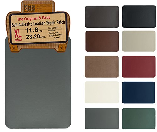 - MastaPlasta, Leather Repair Patch, First-aid for Sofas Car Seats, Handbags Jackets, Plain 8-inch by 11-inch, Grey