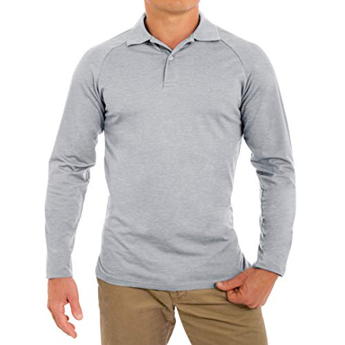 CC Perfect Slim Fit Long Sleeve Polo Shirts for Men | Soft Fitted Breathable Mens Long Sleeve Polo Shirts, Medium, Heather Gray