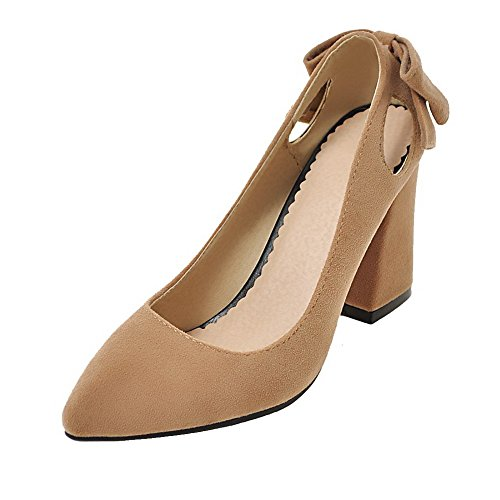 Odomolor AmagooTer Women's Closed-Toe Pull-On High-Heels Frosted Solid Pumps-Shoes Yellow xMEAT4t